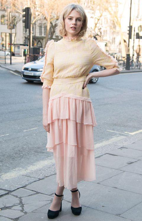 Clothing, Pink, Street fashion, Photograph, White, Shoulder, Fashion, Snapshot, Yellow, Footwear,