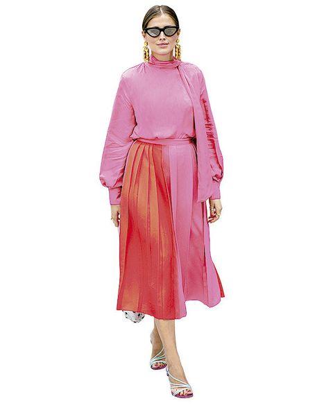 Clothing, Pink, Dress, Magenta, Fashion, Sleeve, Peach, Shoulder, Day dress, Neck,