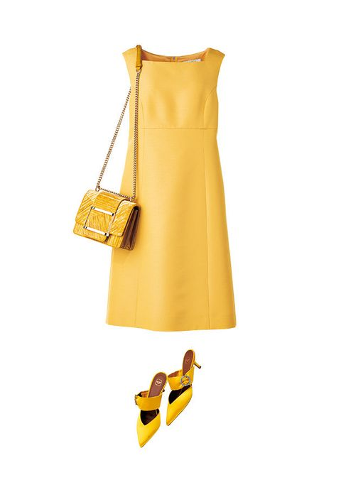 Yellow, Clothing, Dress, Footwear, Day dress, Cocktail dress, Shoe, A-line, Textile, Neck,
