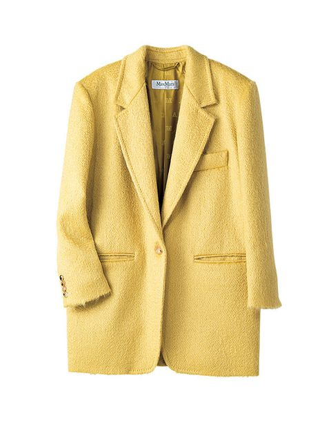 Clothing, Outerwear, Jacket, Blazer, Yellow, Beige, Sleeve, Coat, Suit, Formal wear,