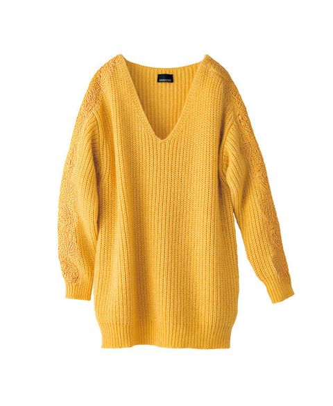 Clothing, Yellow, Sleeve, Sweater, Outerwear, Orange, Neck, Blouse, Jersey, Beige,