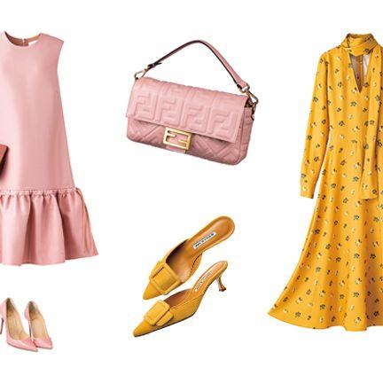 Clothing, Yellow, Pink, Footwear, Dress, Outerwear, Fashion accessory, Bag, Handbag, Shoe,
