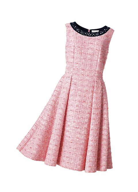 Clothing, Dress, Pink, Day dress, White, Cocktail dress, A-line, Sleeve, Neck, Peach,
