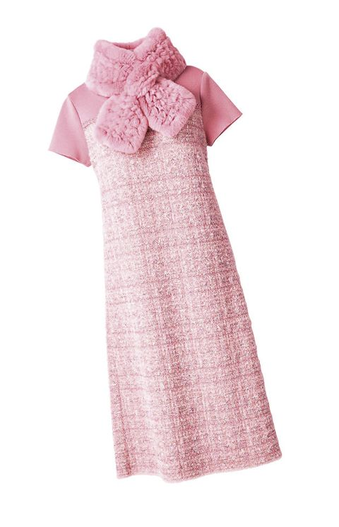 Clothing, Pink, White, Dress, Sleeve, Product, Day dress, Collar, Pattern, Textile,