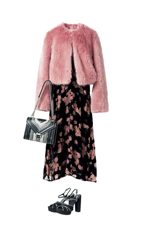 Clothing, Fur, Pink, Outerwear, Sleeve, Coat, Fashion, Dress, Footwear, Robe,