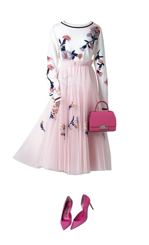 Clothing, White, Pink, Dress, Day dress, Sleeve, Footwear, Fashion, Robe, A-line,