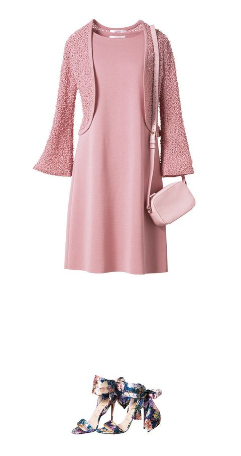 Clothing, Pink, Dress, Sleeve, Shoulder, Outerwear, Neck, Footwear, A-line, Joint,
