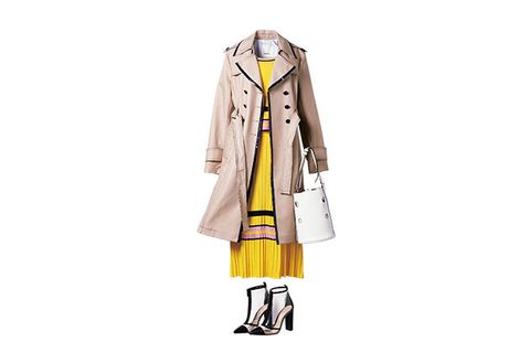 Clothing, Yellow, Coat, Outerwear, Trench coat, Fashion, Costume design, Fashion illustration, Dress, Costume,