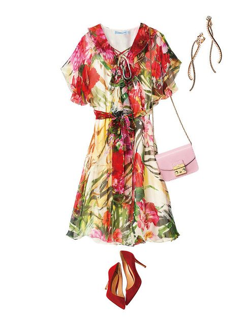 Clothing, Day dress, Dress, Pink, Sleeve, Pattern, Costume design, Textile, Fashion design, Robe,