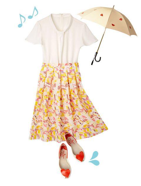 Product, Yellow, Sleeve, Collar, Umbrella, Textile, White, Pattern, Fashion, Art,