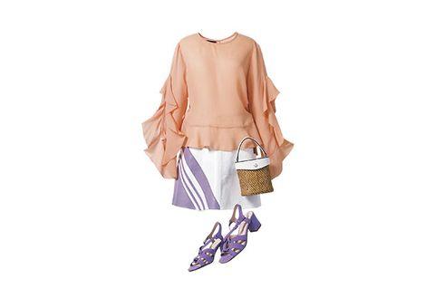 Clothing, Footwear, Violet, Outerwear, Cardigan, Shoulder, Fashion, Handbag, Beige, Shoe,