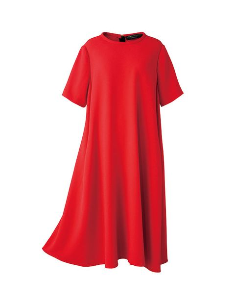 Clothing, Red, Dress, Sleeve, Day dress, A-line, Neck, Outerwear, T-shirt, Cocktail dress,