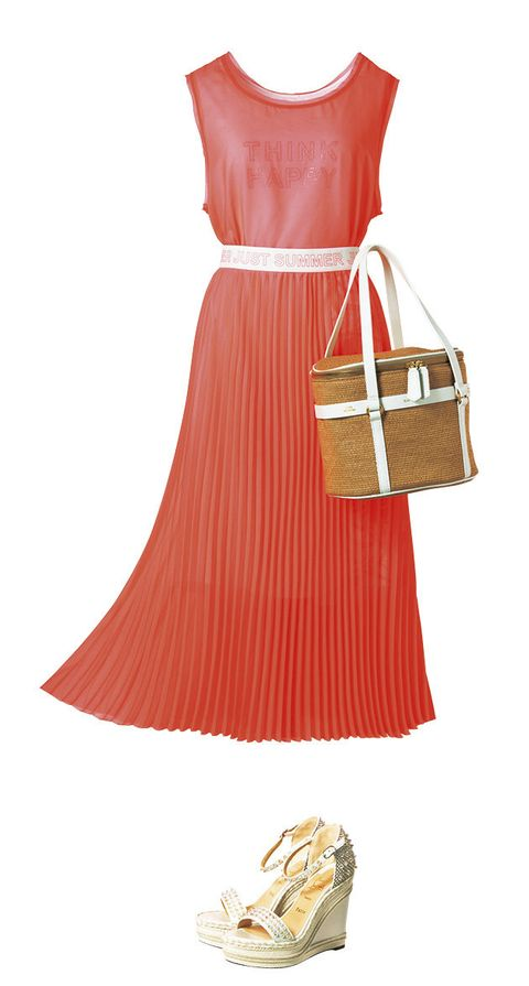Clothing, Red, Dress, Orange, Yellow, Footwear, Fashion, Peach, Bag, Handbag,