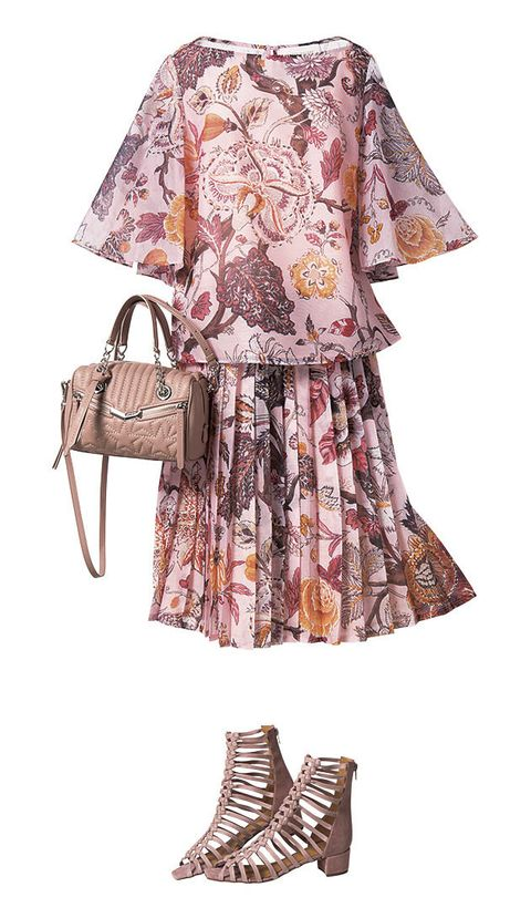 Clothing, Dress, Sleeve, Brown, Pink, Footwear, Day dress, Fashion, Pattern, Outerwear,