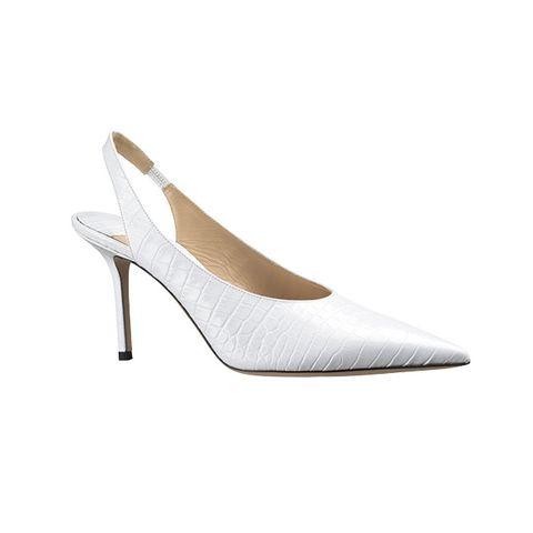 Footwear, High heels, Slingback, White, Court shoe, Shoe, Beige, Bridal shoe, Basic pump,