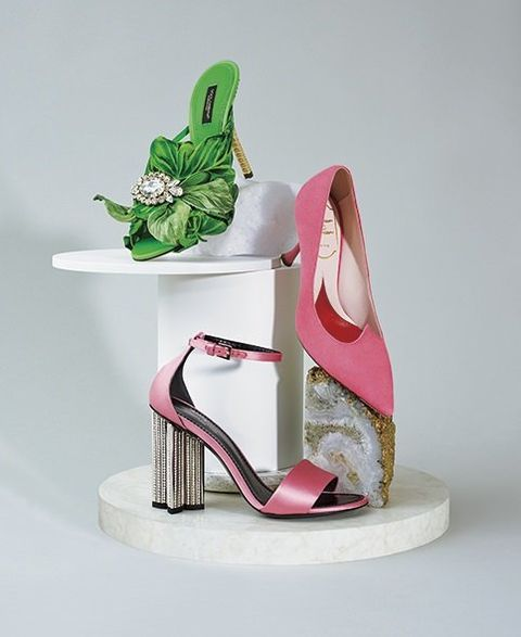 Footwear, High heels, Pink, Shoe, Green, Product, Sandal, Leg, Magenta, Basic pump,
