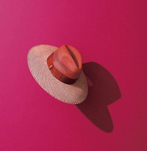 Hat, Pink, Magenta, Costume accessory, Maroon, Violet, Costume hat, Sun hat, Fedora,