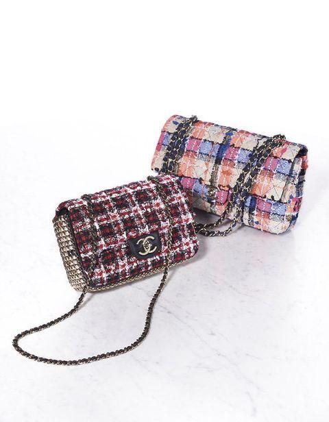 Bag, Fashion accessory, Handbag, Design, Pattern, Tartan, Beige, Plaid, Coin purse,