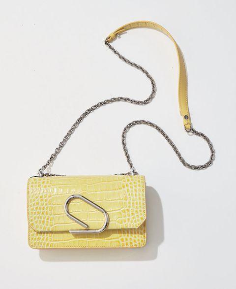 Yellow, Bag, Handbag, Fashion accessory, Chain, Shoulder bag, Beige, Rectangle, Jewellery,