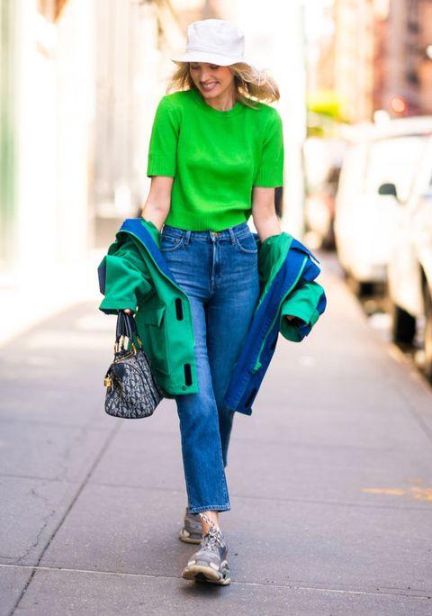 Green, Clothing, Street fashion, Blue, Jeans, Turquoise, Denim, Fashion, Shoulder, Waist,