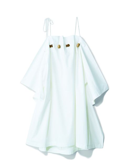 White, Clothing, Clothes hanger, Product, Dress, Outerwear, Sleeve, Linens, Day dress, A-line,
