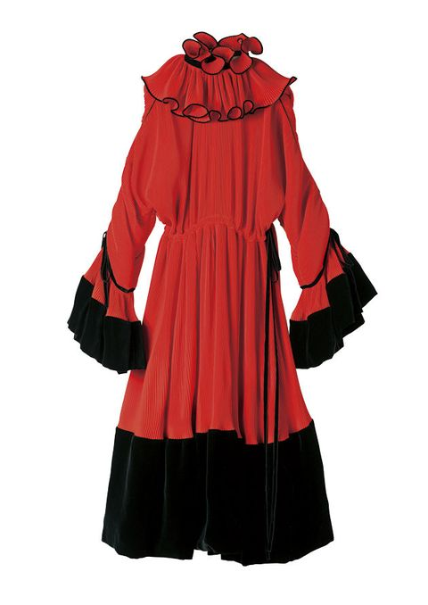 Clothing, Outerwear, Sleeve, Red, Hood, Costume, Costume design, Ruffle, Coat, Mantle,
