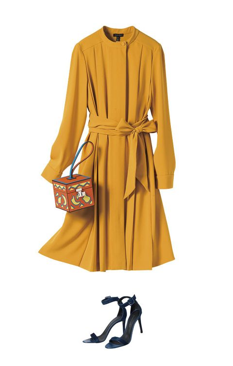 Clothing, Yellow, Sleeve, Day dress, Dress, Robe, Outerwear, Trench coat, Coat, Footwear,