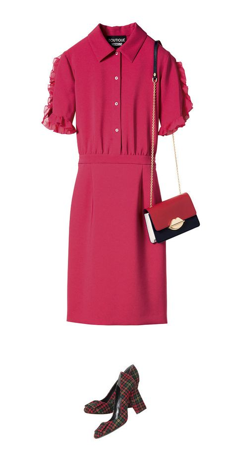 Clothing, Pink, Red, Sleeve, Dress, Magenta, Day dress, Footwear, Outerwear, Collar,