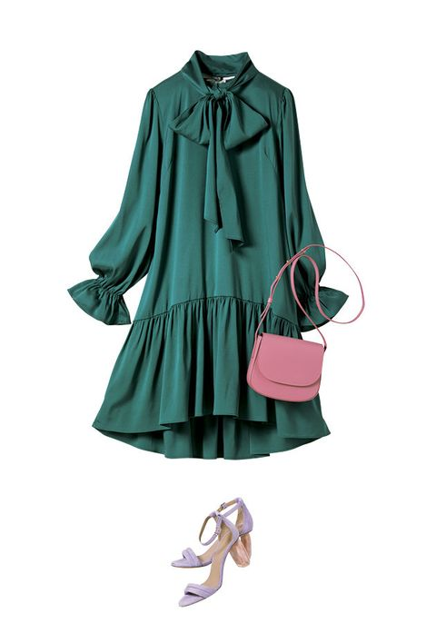 Clothing, Green, Turquoise, Sleeve, Teal, Outerwear, Dress, Blouse, Footwear, Ruffle,