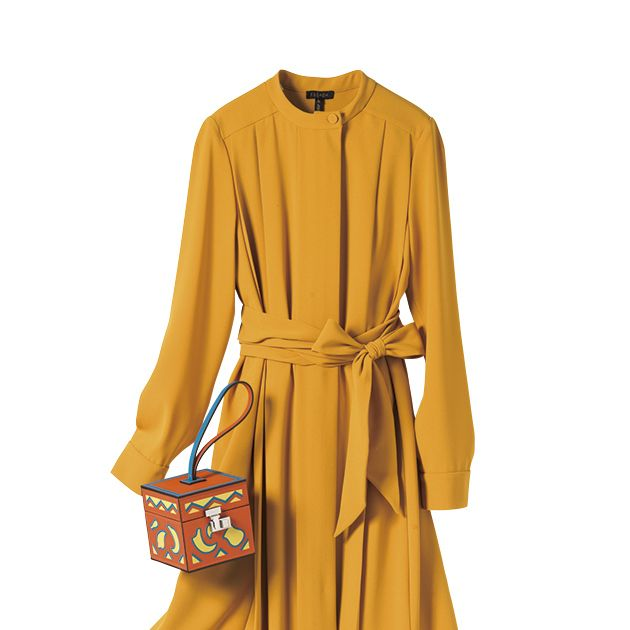 Clothing, Yellow, Sleeve, Robe, Day dress, Dress, Outerwear, Trench coat, Coat, Overcoat,