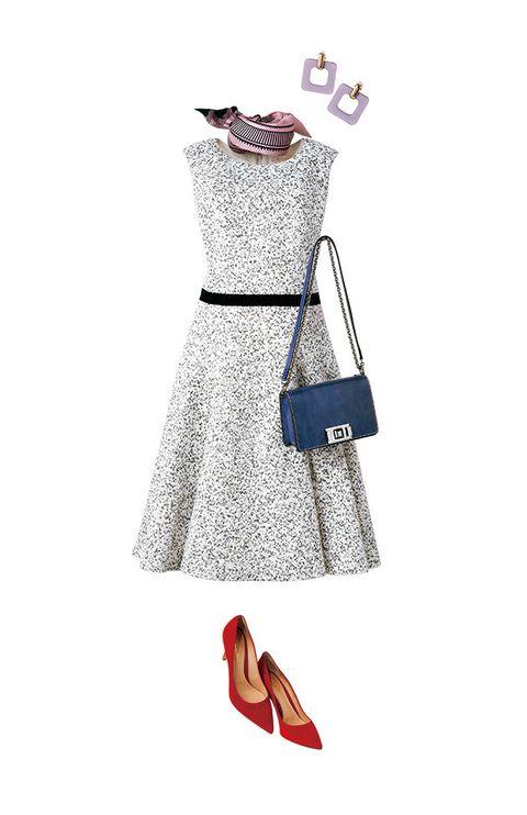 Clothing, White, Dress, Footwear, Pink, Shoulder, Fashion, Cocktail dress, A-line, Shoe,
