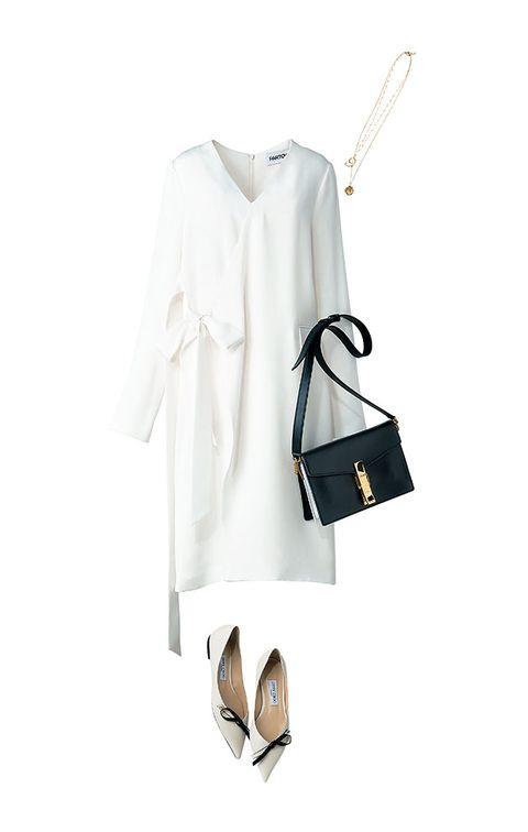 White, Clothing, Footwear, Neck, Dress, Outerwear, Sleeve, Beige, Shoe, Formal wear,