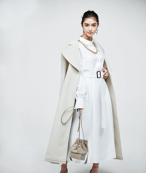 Clothing, White, Fashion model, Shoulder, Fashion, Outerwear, Coat, Overcoat, Trench coat, Dress,