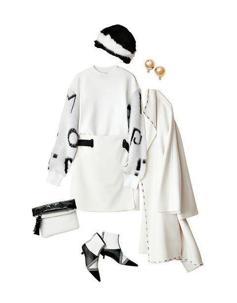 White, Clothing, Uniform, White coat, Coat, Outerwear, Trench coat, Sleeve, Black-and-white, Costume,