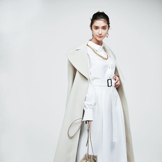 Clothing, White, Fashion model, Shoulder, Fashion, Outerwear, Coat, Trench coat, Dress, Overcoat,