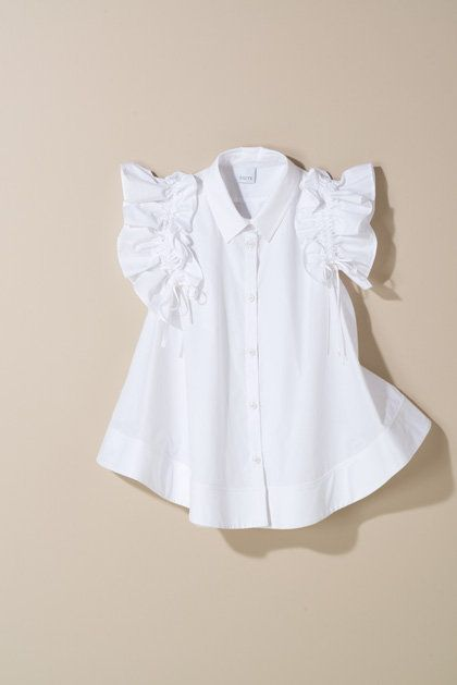 White, Clothing, Product, Blouse, Ruffle, Collar, Sleeve, Shirt, Outerwear, Dress,