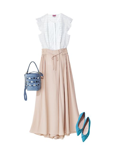 Clothing, White, Dress, Beige, Footwear, Turquoise, Day dress, Neck, Blouse, Sleeve,