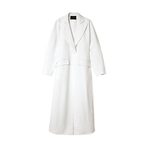 Clothing, White, Robe, Outerwear, Coat, Dress, Sleeve, Collar, Gown, Trench coat,