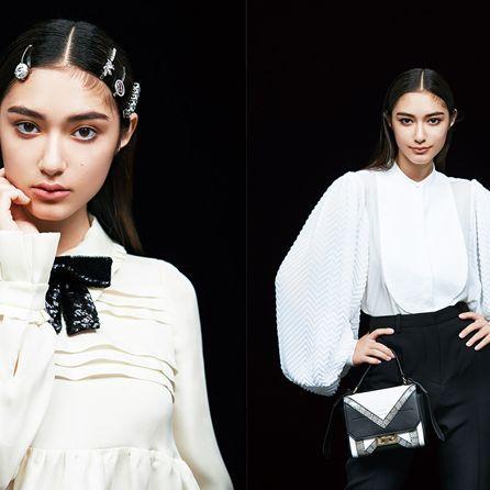 White, Fashion model, Clothing, Beauty, Fashion, Sleeve, Lip, Collar, Black-and-white, Neck,