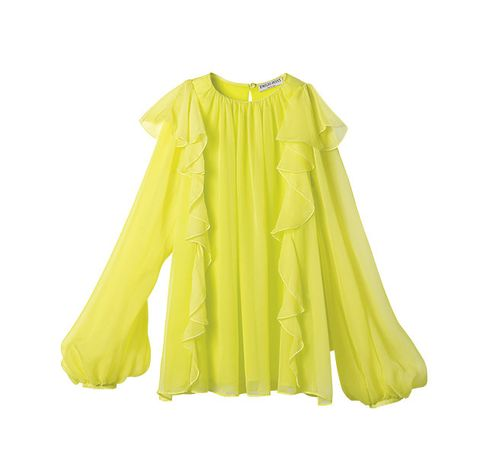 Clothing, Yellow, Sleeve, Green, Outerwear, Blouse, Ruffle, Collar, Dress, Neck,