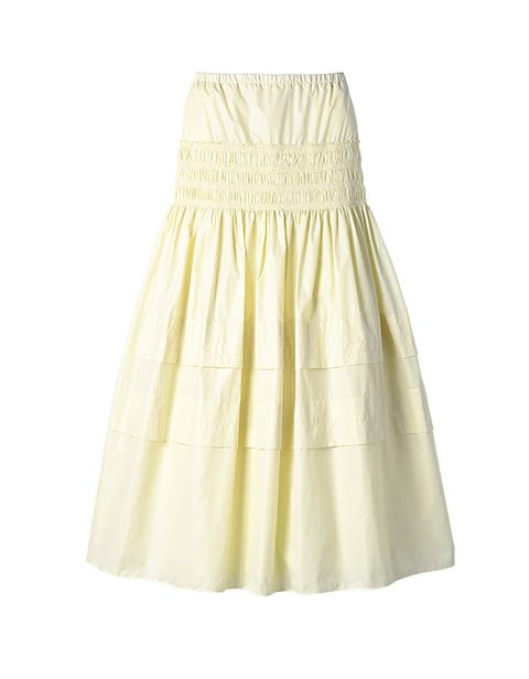 Clothing, White, Yellow, Dress, Beige, Day dress, A-line,