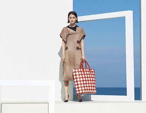 Clothing, Fashion, Fashion model, Dress, Beige, Shoulder, Fashion design, Pattern, Formal wear, Pattern,