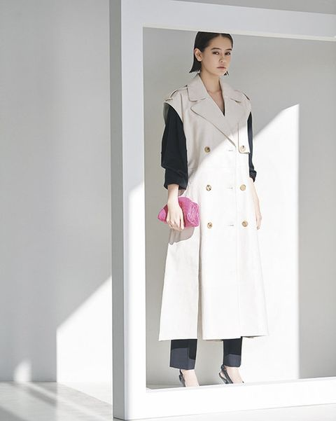Clothing, Coat, Trench coat, Overcoat, Pink, Fashion, Outerwear, White coat, Uniform, Formal wear,