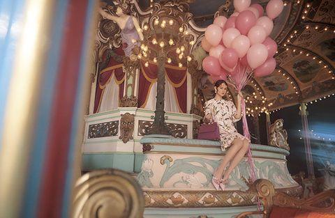 Amusement ride, Pink, Carousel, Amusement park, Fashion, Fun, Room, Recreation, Tourist attraction, Dress,