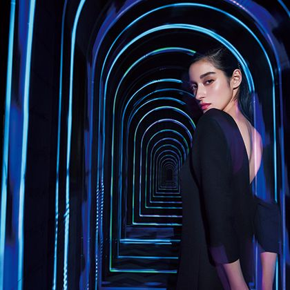 Blue, Cobalt blue, Electric blue, Light, Beauty, Fashion, Photography, Architecture, Fashion design, Model,
