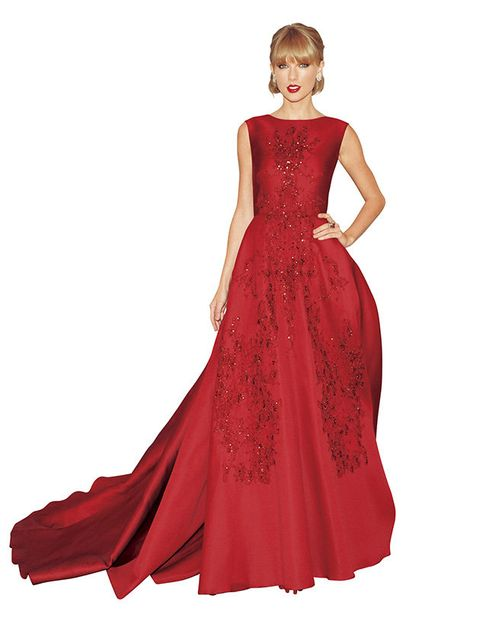 Clothing, Dress, Sleeve, Shoulder, Textile, Red, Standing, Formal wear, One-piece garment, Style,
