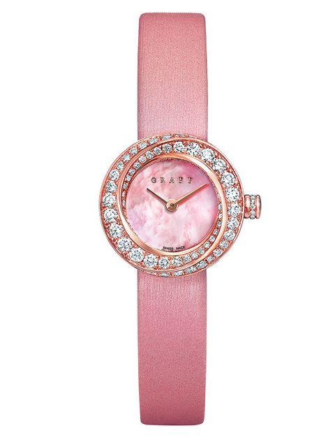 Analog watch, Watch, Pink, Watch accessory, Strap, Fashion accessory, Jewellery, Quartz, Material property, Crystal,