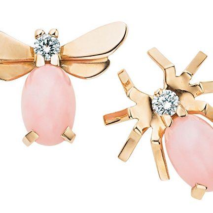 Fashion accessory, Jewellery, Pink, Earrings, Ear, Body jewelry, Gemstone, Diamond, Metal,