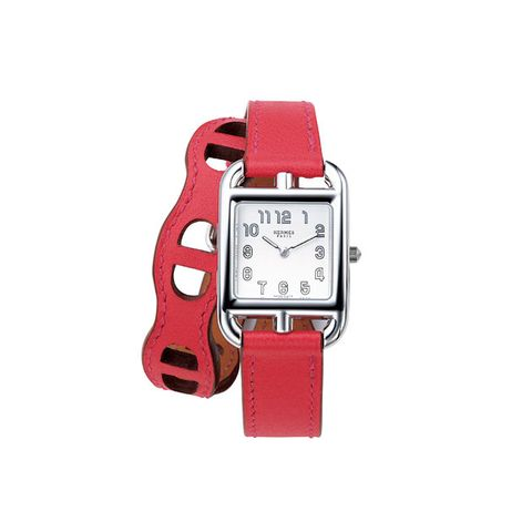 Watch, Analog watch, Watch accessory, Red, Strap, Fashion accessory, Product, Jewellery, Pink, Rectangle,