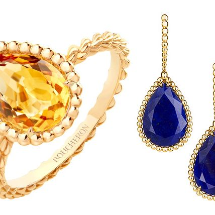 Jewellery, Fashion accessory, Body jewelry, Gemstone, Yellow, Cobalt blue, Sapphire, Earrings, Chain, Diamond,